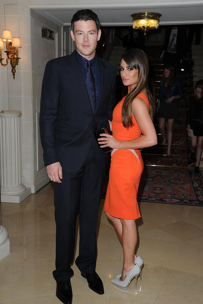 Lea Michelle and Cory Monteith attended the Versace show during Paris Fashion Week together.