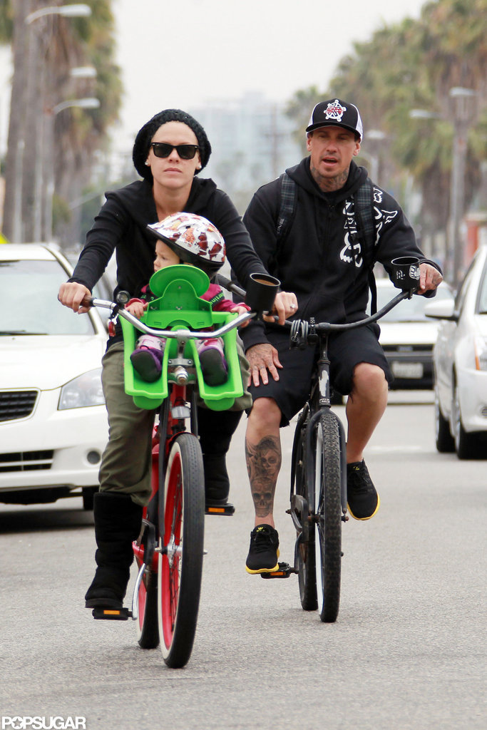 Pink and Carey Hart took their daughter, Willow, on a bike ride in LA.