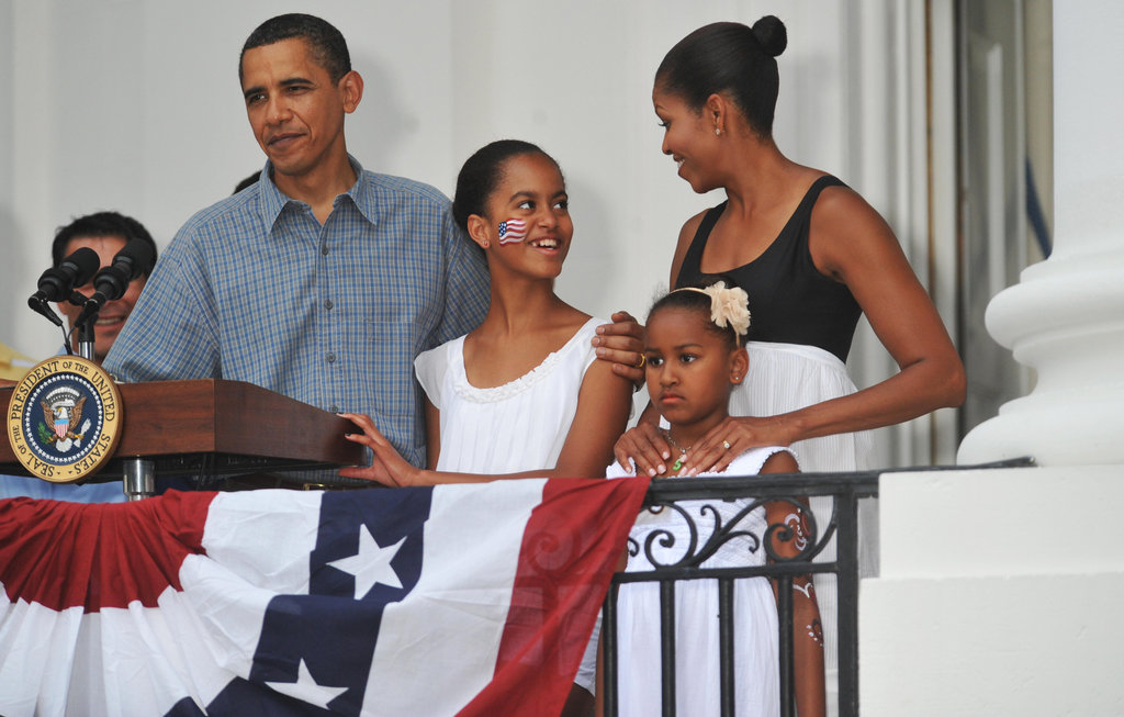 Malia rocked some red, white, and blue face paint on July 4, 2009.