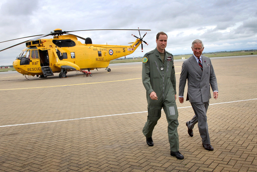 Prince William and his dad, Prince Charles, headed back to the RAF rescure base after checking out the grounds.
