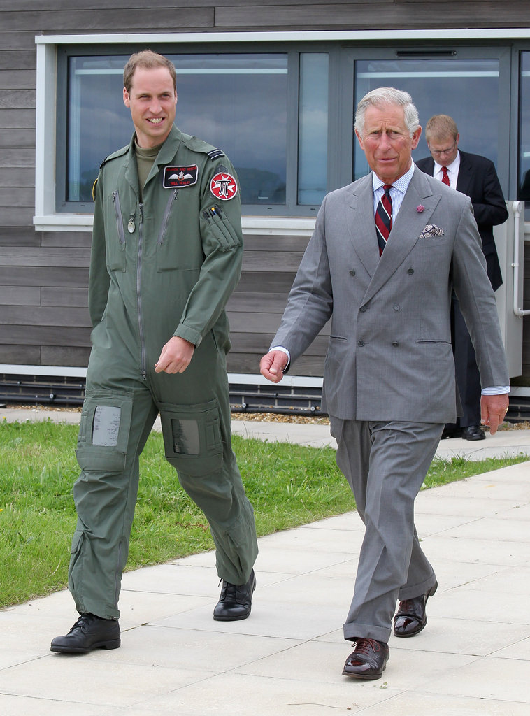 Prince William walked around the base with his father, Prince Charles.