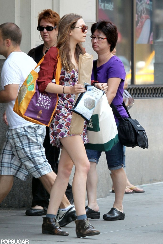 Elizabeth Olsen dressed in a casual dress while running errands around NYC.