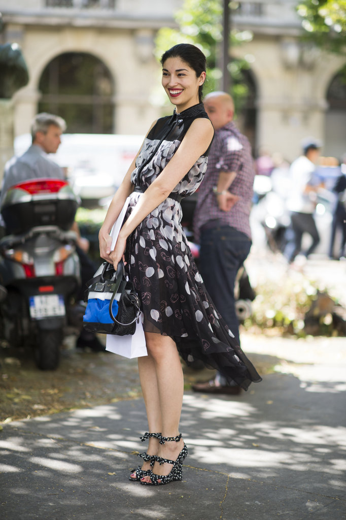 Steal Caroline Issa's M.O. and go for breezy prints and equally eye-catching footwear. Photo courtesy of Adam Katz Sinding