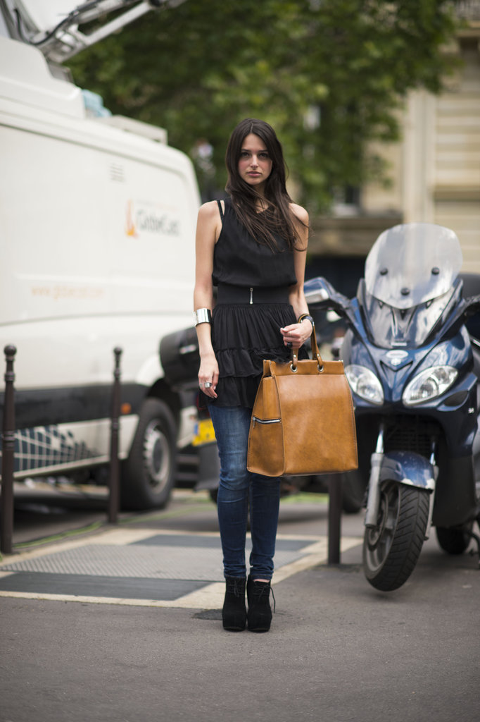 Layer a dress over jeans to channel one of Resort's biggest trends. Photo courtesy of Adam Katz Sinding