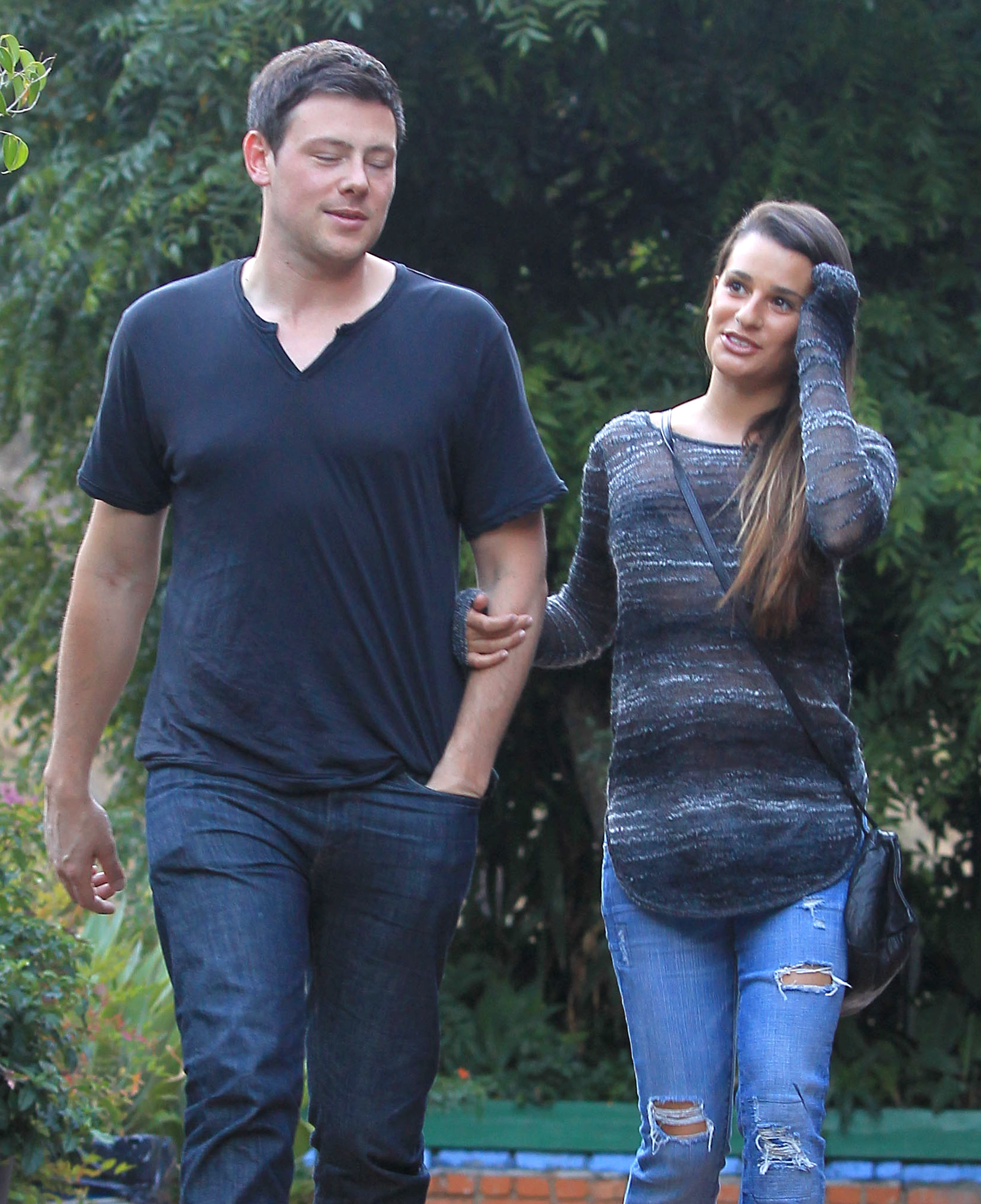 Cory Monteith and Lea Michele went to lunch.
