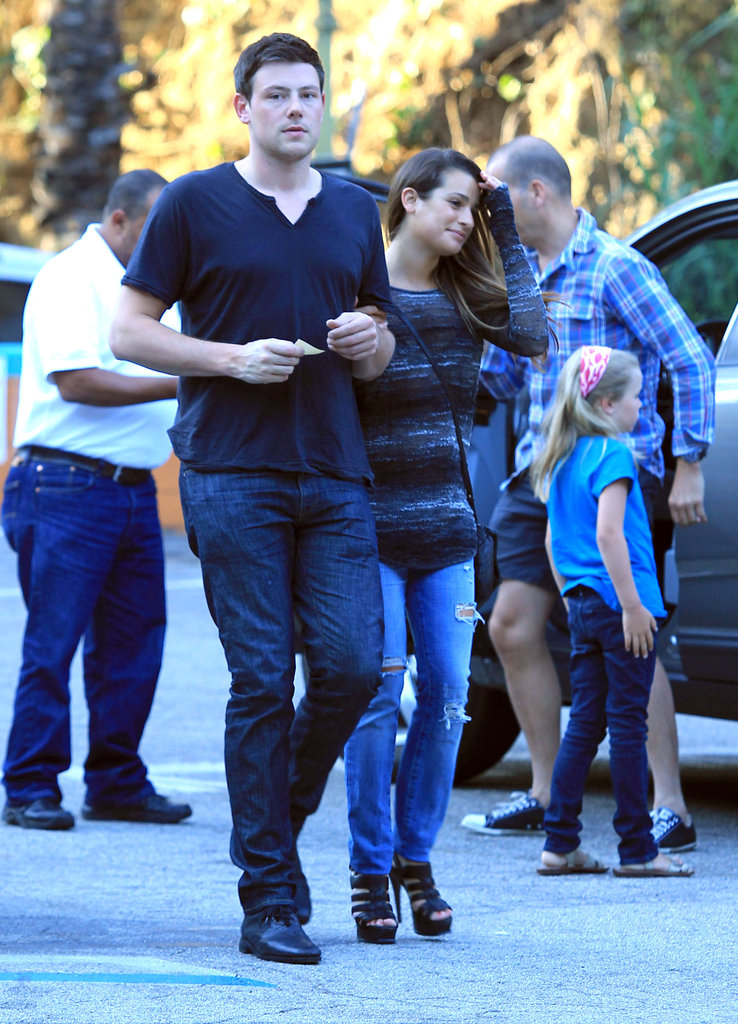 Glee's Cory Monteith and Lea Michele walked to their car.