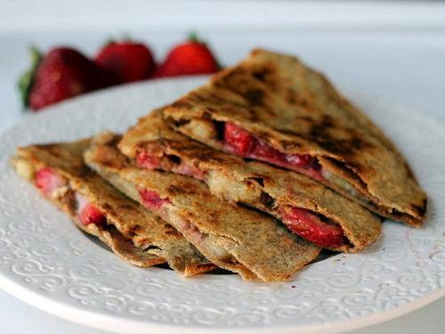 Peanut Butter, Strawberry, and Banana Quesadillas