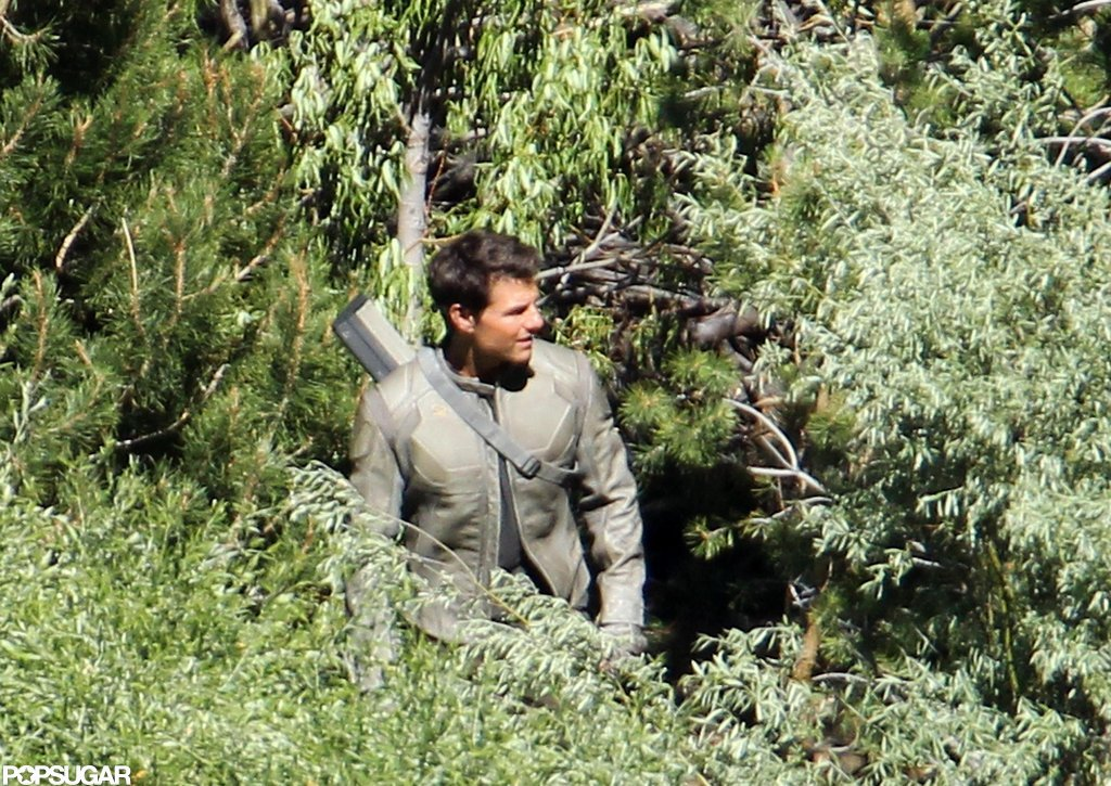 Tom Cruise smiled as he filmed on the Oblivion set in CA.