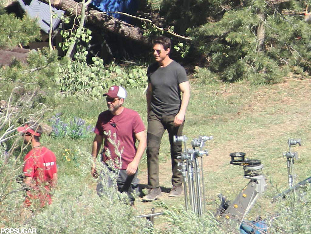 Tom Cruise walked through a field on the set of Oblivion in June Lake, CA.