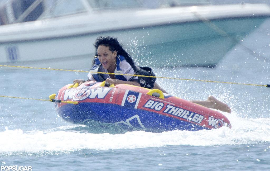 Rihanna went inner tubing.
