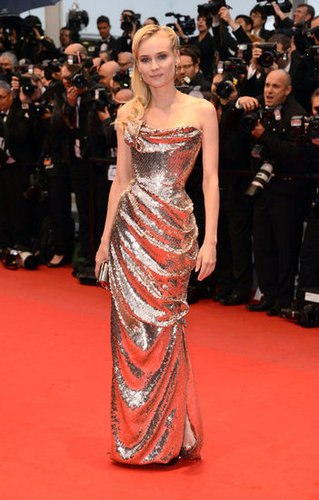Diane shimmered in a metallic sequined gown by Vivienne Westwood at the Amour preview in May 2012.