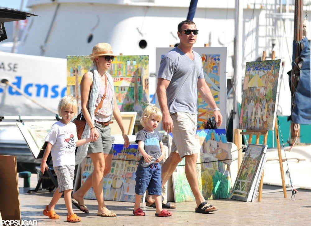 Naomi Watts and Liev Schreiber took a walk with their kids.