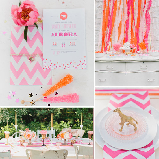 gold and pink baby shower decorations