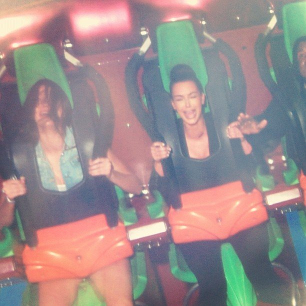 Kim Kardashian and Kendall Jenner screamed their way through a roller-coaster ride. Source: Instagram user kendallnjenner