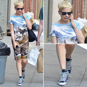 Michelle Williams Wearing a Dress and Sneakers