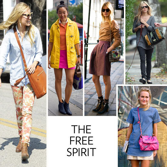 """Your bag is quirky, laden with bold colors, and holds its own against your already vibrant style. You carry a multicolored snakeskin from Proenza Schouler or a slouchy hand-woven cotton tribal-printed shoulder bag from Wayúu Taya — it's all about showcasing your inner (and outer) bohemian. What shines through most is your affinity to relaxed shapes, funky patterns, bright patchwork details, and let's face it — you'll never say """"no"""" to a fun fringe addition. You're the girl that wishes she could have been front and center at Woodstock. You prefer the great outdoors to lavish metropolitan getaways, you'll never refuse a Grateful Dead listening party, and when in doubt, it's all about keeping your beauty outlook fresh-faced. Plus, celebs like Sienna Miller and Kristen Bell, as well as fashion industry insiders, also tote a more free-spirited kind of handbag as the ultimate boho touch.   The Bags You Love: Coach Legacy tassel bag, House of Harlow Jolie Taupe, Totem Salvaged leather-trimmed clutch, Marni vinyl tote, Missoni knitted satchel, and Wayúu Taya Mochilla.  Iconic Inspiration: Your mom in the 1970s, or more recently, Rachel Zoe, Kate Moss, Nicole Richie, and Sienna Miller are leading the free-spirited style tribe.  What's on Your iPod: The Strokes, Youth Lagoon, Blood Orange, The White Stripes, The Kills, and Florence + The Machine.   In this photo (clockwise from left): Kristen Bell, stylist Aya Kanai, London style-setter, Sienna Miller, and Mary-Kate Steinmiller"""