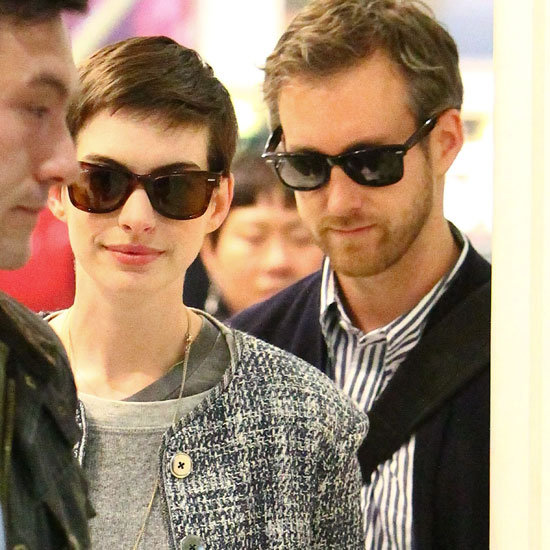Anne Hathaway and Adam Shulman Arrive in London   Pictures