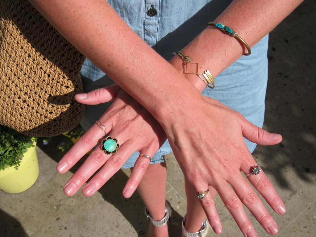 Rings and bracelets with all kinds of stones and metals.