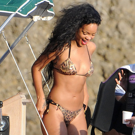 Rihanna Sips Champagne and Wears a Leopard Print Bikini on a Yacht in Italy