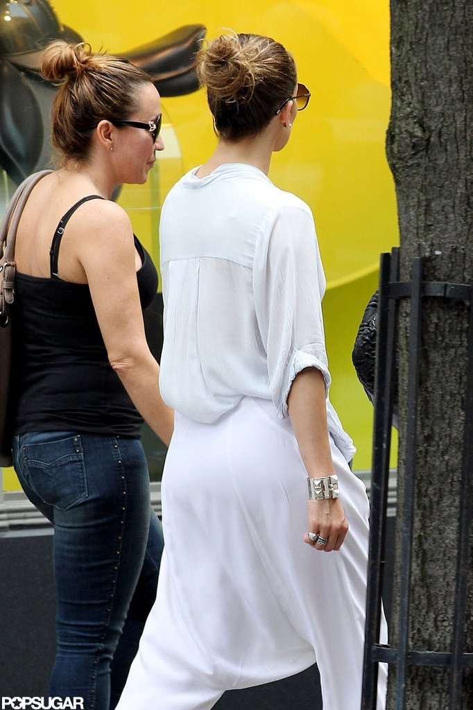 Jennifer Lopez wore a white outfit in NYC.