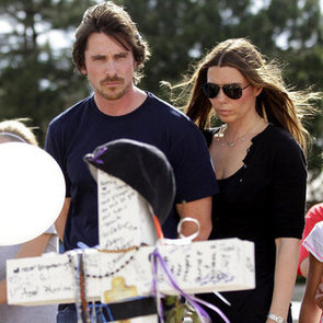 Christian Bale Visits Aurora, Colorado Shooting Victims Memorial