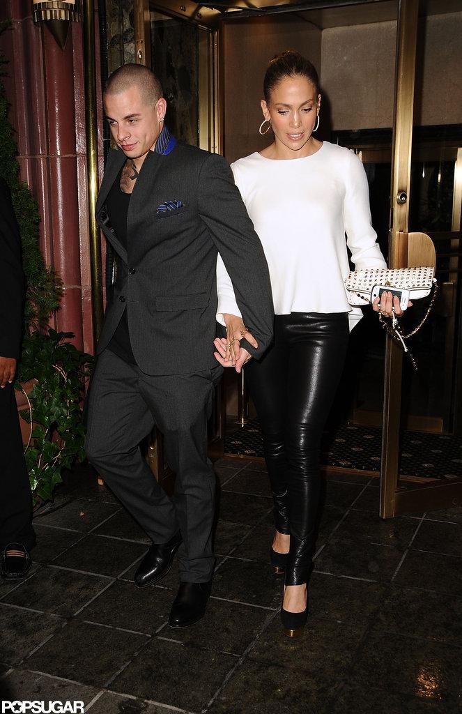 Jennifer Lopez grabbed Casper Smart's hand at dinner in NYC.