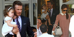 David and Victoria Beckham Do Lunch in London With Harper