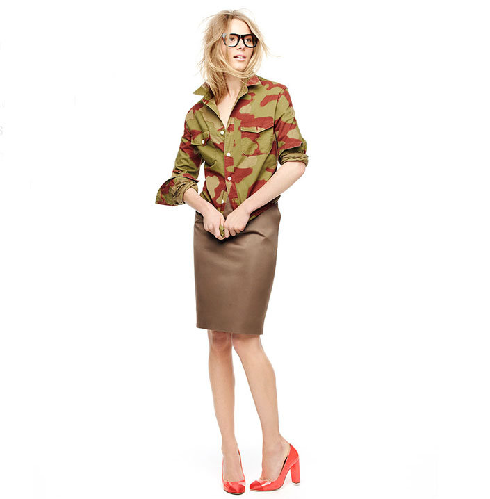 Look to tougher accents like a camo-print jacket to pare down your pencil skirt for the office and beyond.