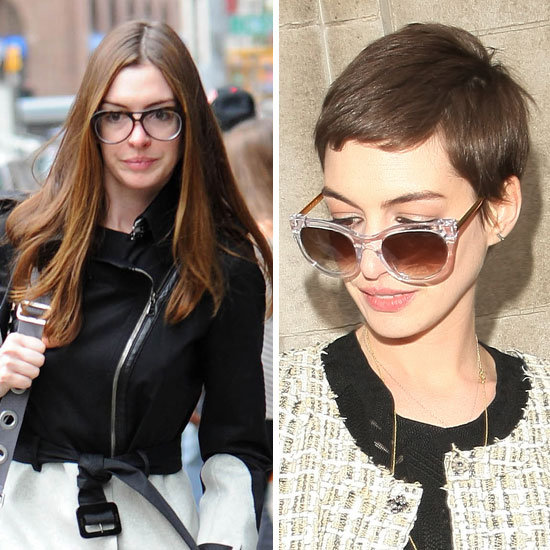 Anne Hathaway can be seen shaving her head in the film Les Misérables. We think the star looks amazing and very Parisian chic with her cool pixie 'do.