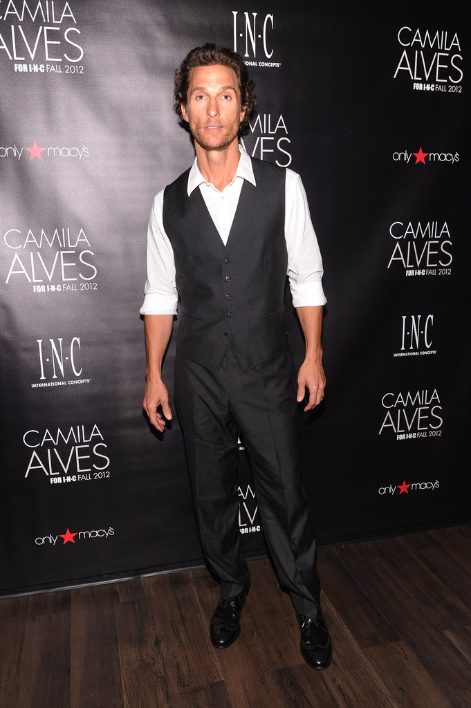 Matthew McConaughey posed for pictures at Camila Alves's event in NYC.