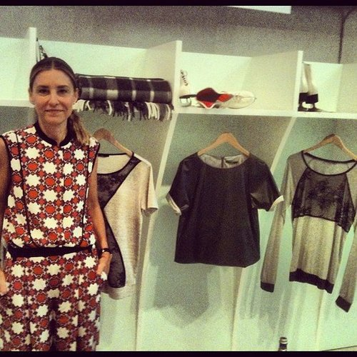 Tibi's Amy Smilovic showed off her capsule collection for eBay (not to mention her own print-on-print look).
