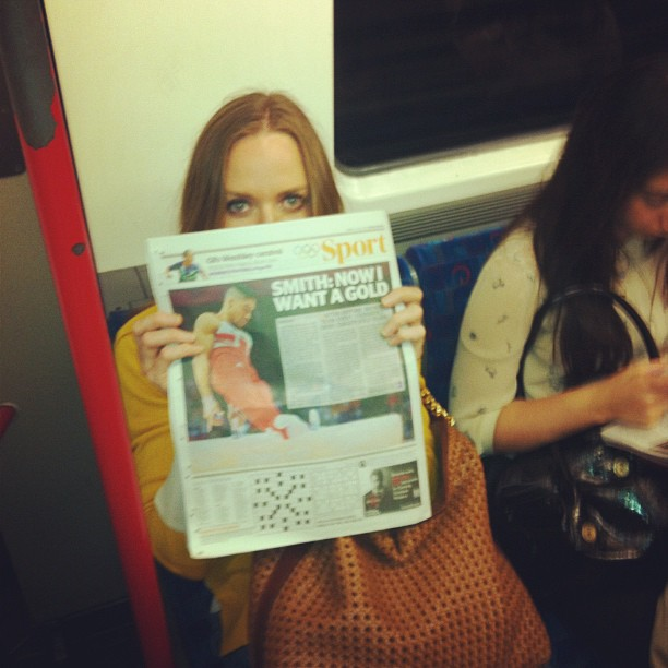 Stella McCartney read the British paper while on her way to the Olympic park. Source: Instagram user stella_mccartney