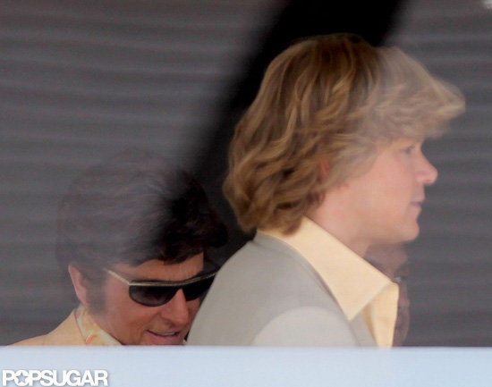 Matt Damon and Michael Douglas were in costume for Behind the Candelabra.