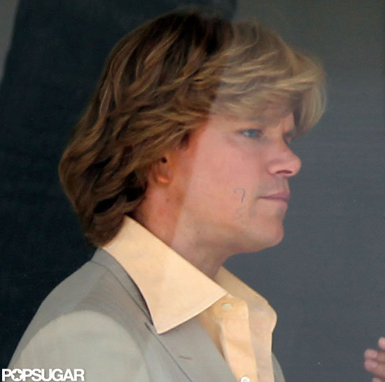 Matt Damon was in costume for Behind the Candelabra.