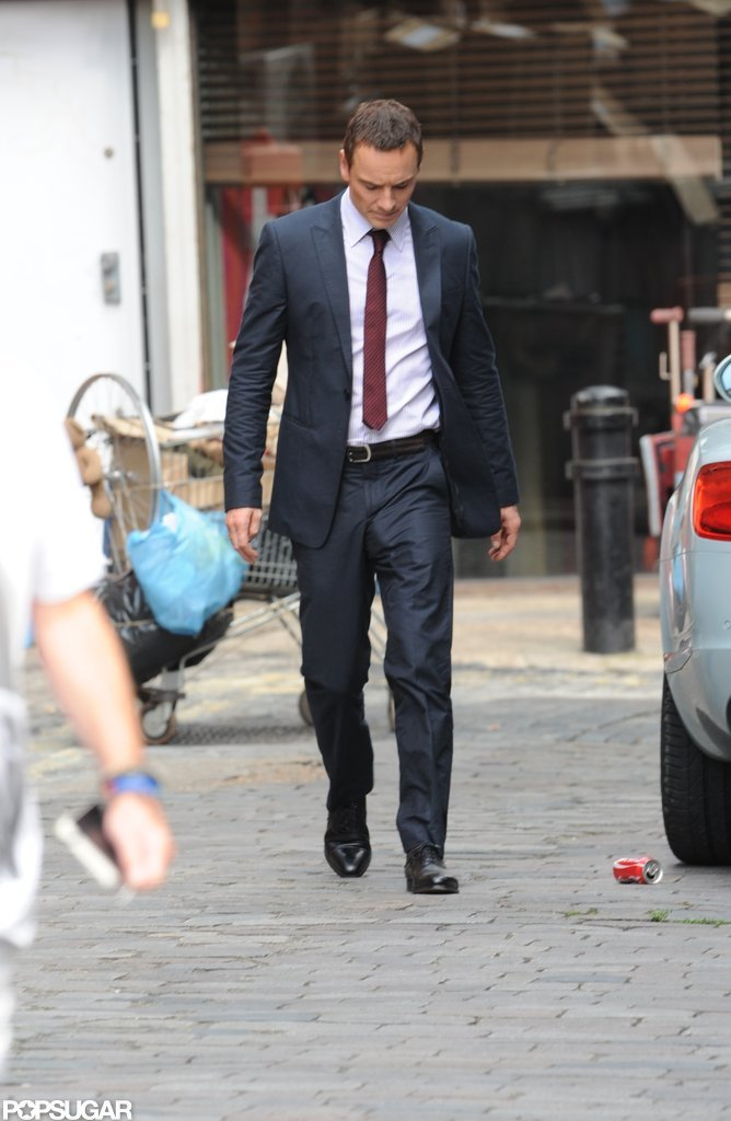 Brad Pitt Debuts a Shiner on Set With Michael Fassbender