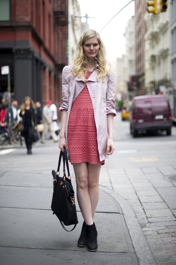 This brightly hued crochet dress is more than just a pretty shade of pink; it's also a cool take on texture.