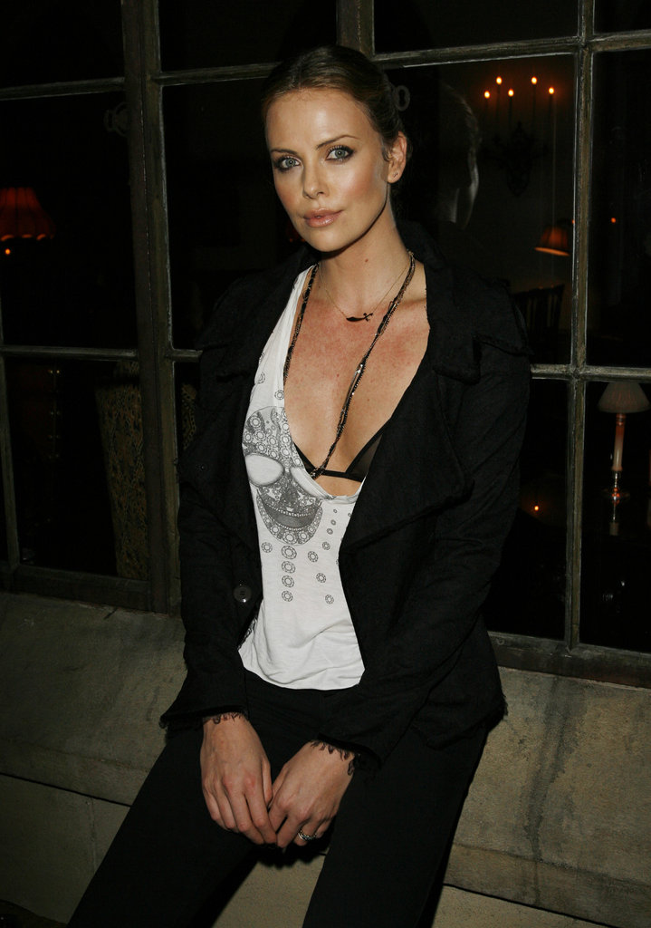 Charlize wore a barely there tank top to a Dior pre-Oscars dinner in February 2007.