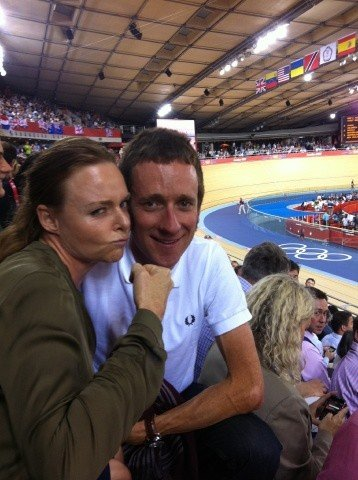 Stella McCartney watched track cycling with cyclist Bradley Wiggins. Source: Twitter user StellaMcCartney
