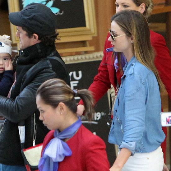 Miranda Kerr Wearing Denim Blouse