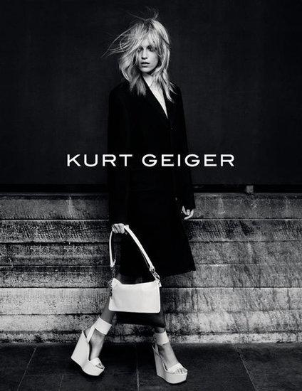 Anja Rubik stars in Kurt Geiger's Fall ads.
