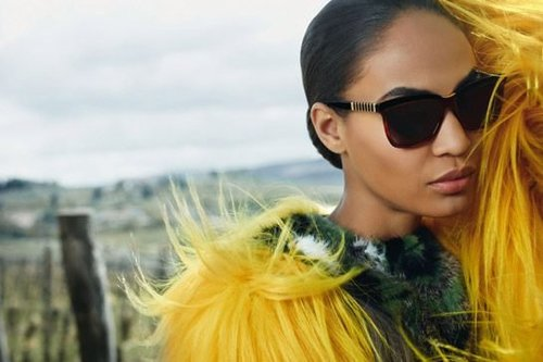 Yellow fur and big sunglasses — it's all-out glamour for Fendi.