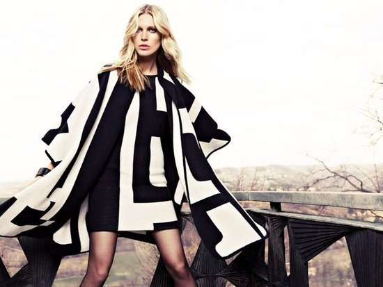 Model Iselin Steiro posed in black-and-white for the Escada Fall 2012 campaign.
