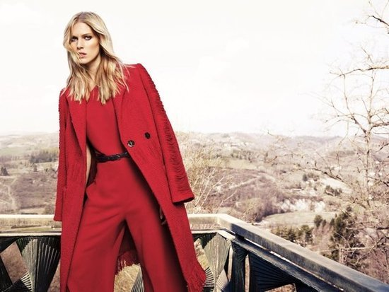 A red statement suit makes a splash in Escada's Fall lineup.
