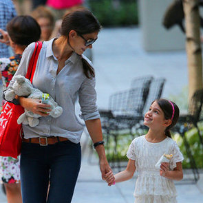 Pictures of Suri Cruise Trying to Feed Katie Holmes at MOMA Garden in NYC