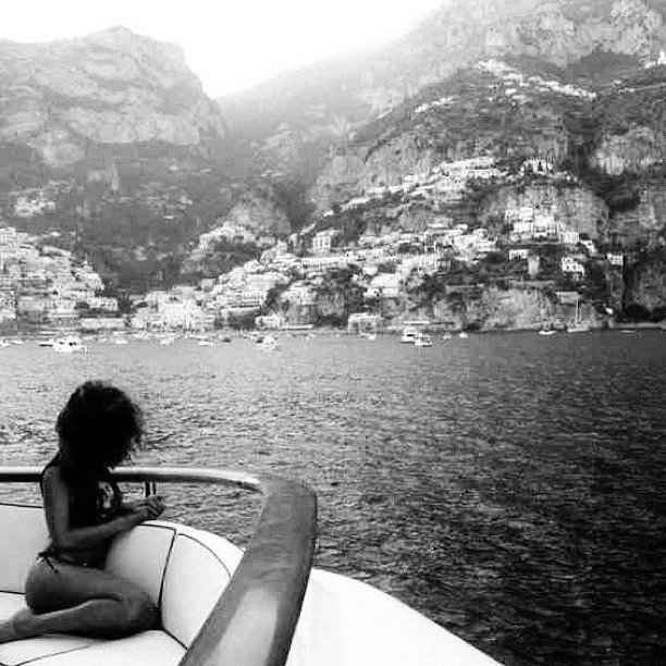 Rihanna had a nice view from the deck of a boat.  Source: Instagram user badgalriri