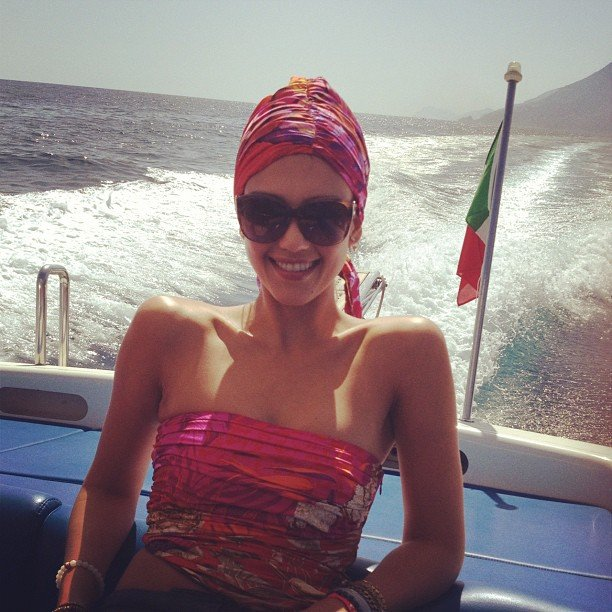 Jessica Alba lounged on a boat in Italy.  Source: Instagram user jessicaalba