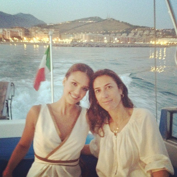 Jessica Alba took an evening boat ride with a friend.  Source: Instagram user jessicaalba