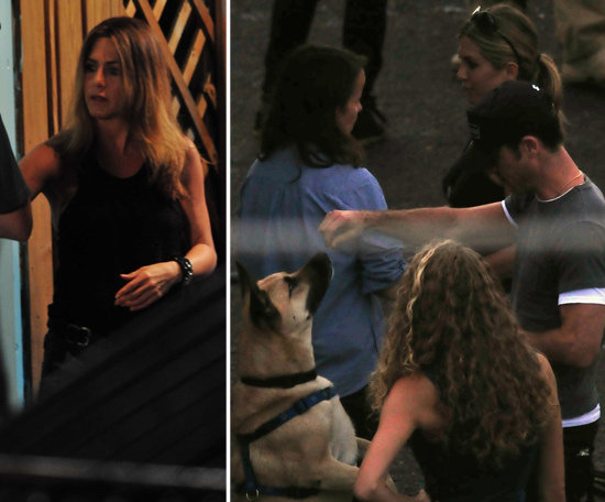 Jennifer Aniston Welcomes Justin Theroux to Set