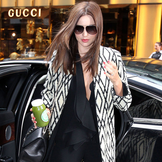 Miranda Kerr Wearing Black and White Coat