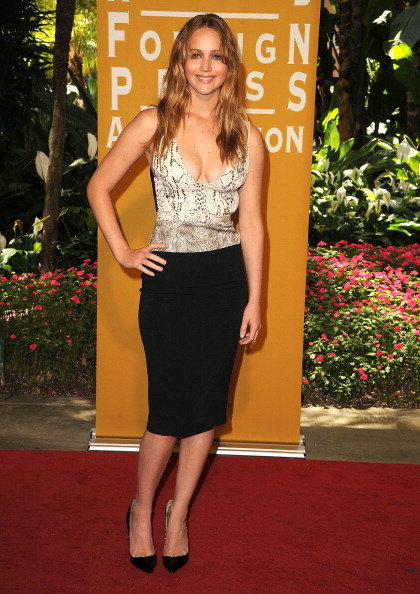 Jennifer Lawrence rocked a low neckline at the The Hollywood Foreign Press Association luncheon in Beverly Hills in August.